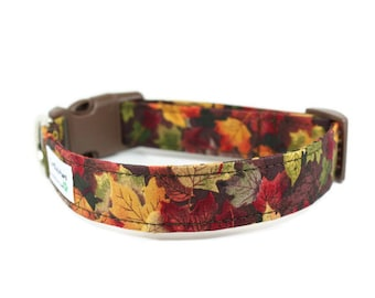 Fall Dog Collar - Maple Leaves / Adjustable Dog Collar / Made to Order in 5 Sizes / Handmade Dog Collar
