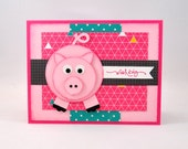 Birthday Greeting Card, Happy Birthday, Pig, Piglet, Piggy, Pink, Teal, Grey, Gray, Polka Dots, Triangles, For Her, Kids Birthday, Blank