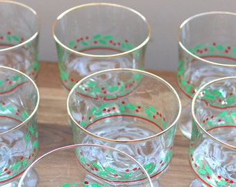 Holly and Berry Compote Glasses--Set of 6 Gold Rim Glasses--Christmas Glasses--1970s