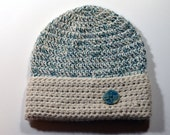 Toddler Hat in Alpaca Teal and White with Handmade Dragonfly Button Trim