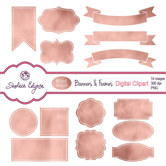 Rose Gold Banners Amp Frames Digital Labels Png Instant