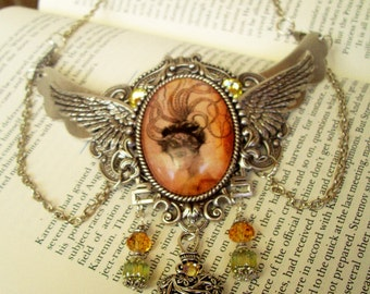 Steampunk Necklace (N510) - Silver plated brass design - Winged Scrollwork Fantasy Victorian Lady Cameo - Dangle Crystals
