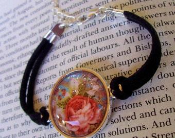 Rose Sparkle Bracelet (B508) - Vintage Rose Graphic Under Glass - Leather With Size Adjustable Chain Link