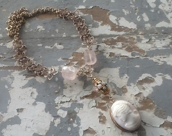 Cameo Assemblage Necklace Vintage Pink Gold Flower Chain