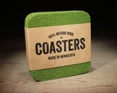 100% Merino Wool Square Felt Coasters - 5mm Thick German-milled Felt - Rich, Lightfast Colors - Natural and Renewable - Olive Green