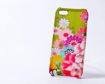 iphone case Japanese Kimono fabric resinated Chirimen Fabric green flower