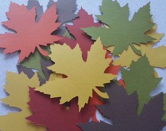 50 Fall Leaves Die Cuts 3 inches