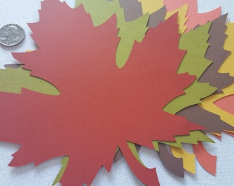 10 Fall Maple Leaves Die Cuts 8 inches