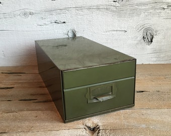 Metal file drawer. Army green industrial storage box.