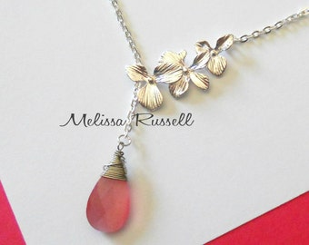 Silver Cascading Orchid Flowers with Wire Wrapped Gem Lariat Necklace, Create your own, Choose from 32 different gems, handmade jewelry, mom
