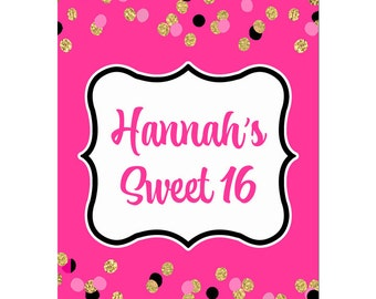 Personalized Sign Printable or Printed ANY Wording - Girl's Confetti Collection