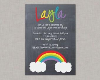 Rainbow Invitation, Rainbow Birthday Invitation, Chalkboard Rainbow Invitation