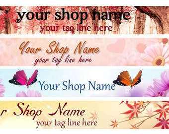 Large Etsy Facebook Cover Photo Ready Made Premade Fall Autumn Nature Flowers Trees Butterfly   Banner