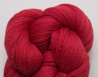 Tomato Red Recycled Extra Fine Grade Lace Weight Merino Yarn, EFM00198