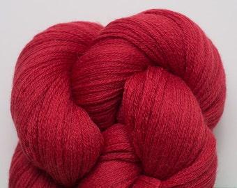 Merino Yarn, Tomato Red Recycled Extra Fine Grade Lace Weight Merino Yarn