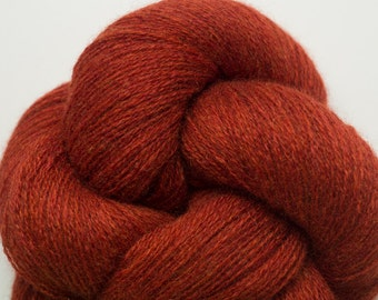 Rust Red Recycled Lace Weight Cashmere Yarn, 978 Yards Available