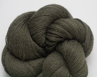 Old Growth Forest Green Silk Angora Lambswool Blend Lace Weight Recycled Yarn, SBL00146