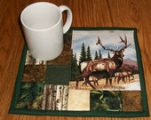 Candle Mat Mug Rug Quilted Elk Woodland Lodge Rustic Decor Coaster