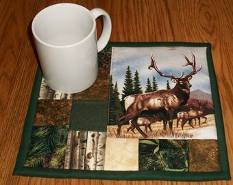 Candle Mat, Quilted Mug Rug, Elk, Woodland, Lodge Decor, Rustic Decor, Coaster, Table Topper, Snack Mat, Table Mat, Coaster, Kitchen Decor