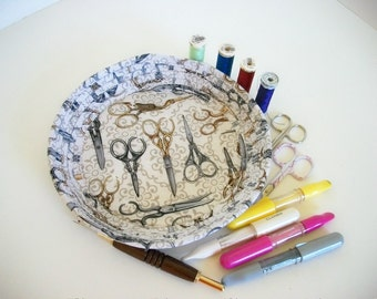 Coiled Fabric Basket Bowl Sewing Scissors Vintage