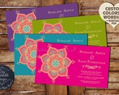 Indian Wedding Invitation LOTUS FLOWER Boho Rustic Anniversary Engagement Bridal Shower Hindu Muslim Sikh Asian Thai Nepali Bangladeshi Jain