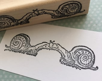 Kissing Snails Wood Mounted Rubber Stamp 4801