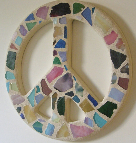 Mosaic Glass Peace Sign Peace Sign Wall Art By