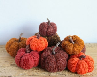 Knitted pumpkins Thanksgiving Pick 3!Pumpkins knitted Home decor.Fall colors Orange Brown.Hand knit.Small pumpkin.Mini pumpkins.Table decor
