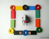 Robot Ornament - Star Bot - Upcycled Ornament - Hanging Decor by Jen Hardwick