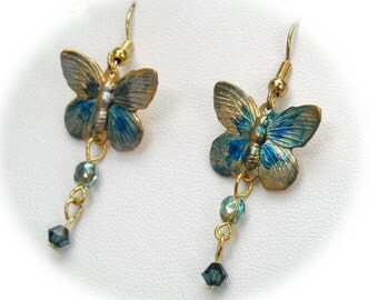 """Butterfly Earrings in Blue and Green """"Hello to Springtime"""""""