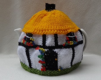 English Tea Cosy Half-timbered Thatched Cottage design hand knitted