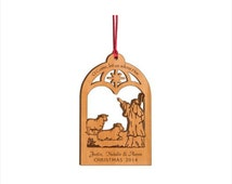 Personalized Wood Christmas Ornament - O Come, Let Us Adore Him Nativity Ornament - Custom Engraved Ornament - Heirloom Ornament