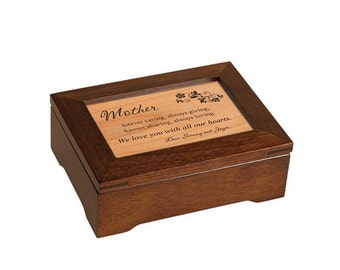 "Custom Engraved Wood ""Amazing Grace"" Music Box - Mother's Day Music Box - Musical Jewelry Box - Personalized Memories Music Box"