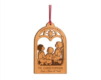 Personalized Wood Christmas Ornament - Christ The Savior Is Born Nativity Ornament - Custom Engraved Ornament - Heirloom Ornament