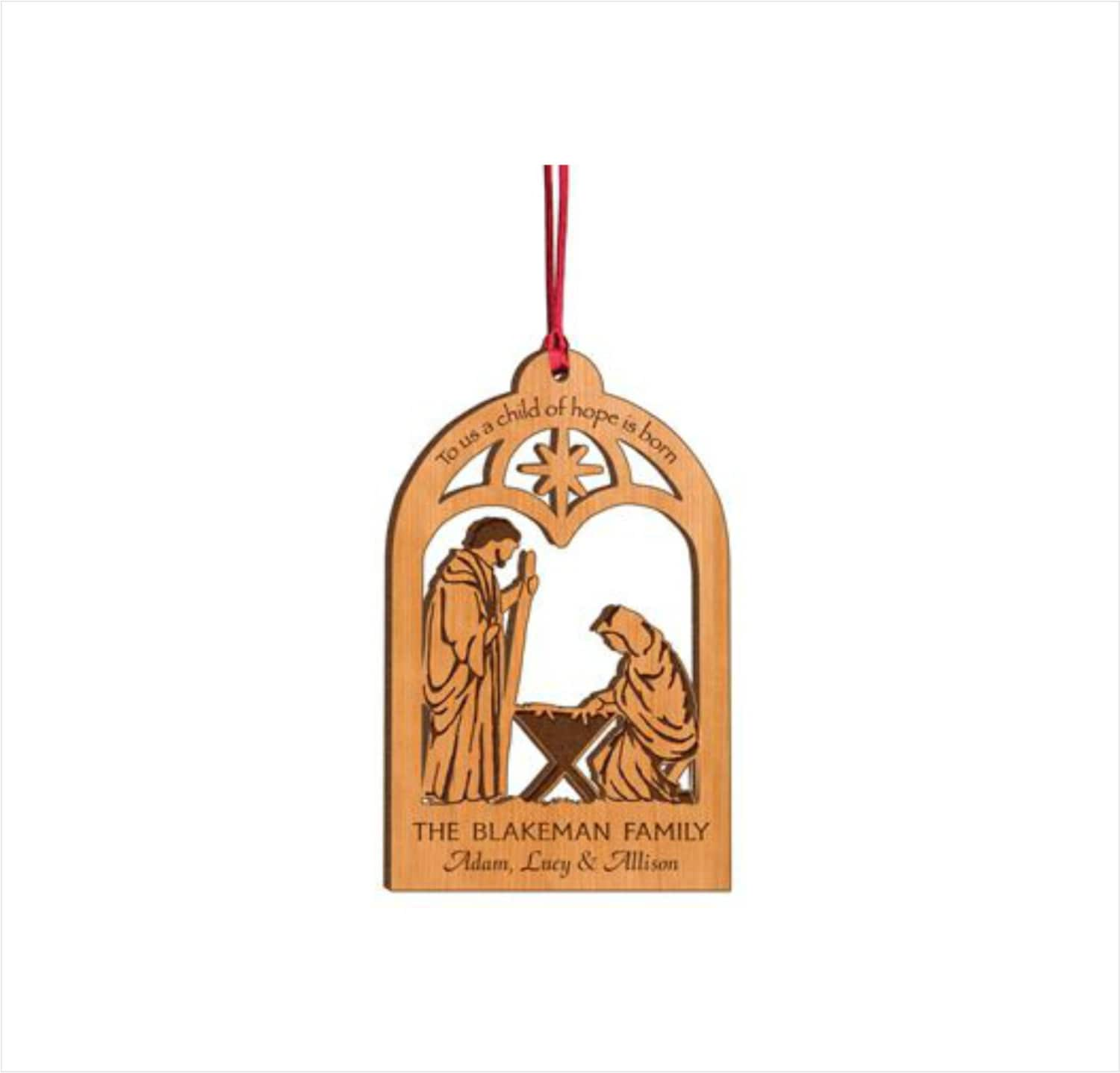 Personalized wood christmas ornament to us a child of hope for Custom engraved christmas ornaments