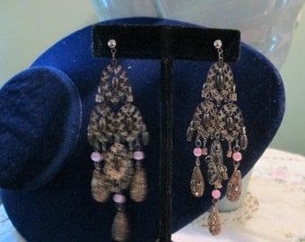 Vintage Long Pierced Earrings Bohemian / 60s Brass Pink Beads Dangle Earrings