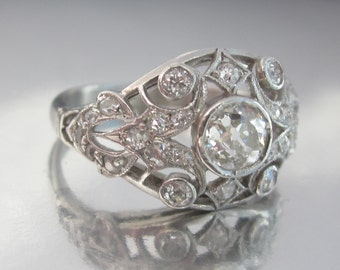 Antique Art Deco I Carat Old Mine Diamonds Platinum Engagement Ring