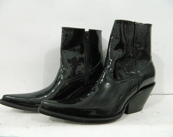 Made To Order Patent Leather Ankle Boots With Side Zipper men or woman sizes available