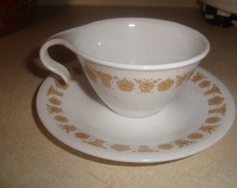 lot 3 vintage corelle corning golden butterfly cup and saucer