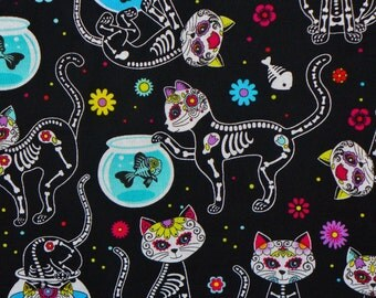 Day of the Dead Kitty Fabric, Cat Skeletons,  Timeless Treasures,  Kitty Skeletons,  Day of the Dead, By the Yard, Cotton Fabric