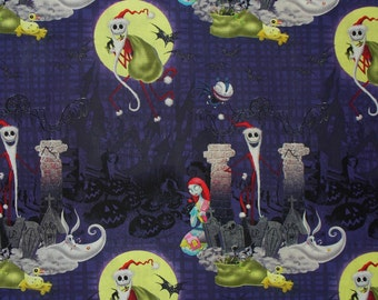 Nightmare before Christmas, Jack Fabric, Half Yard, Jack Skellington, Jack as Santa, Jack Sally Zero, Tim Burton, Cotton Fabric