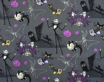 Nightmare Before Christmas Fabric, Jack in Box, Jack Skellington, Lock Shock Barrel,  By the Yard, Tim Burton
