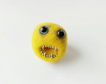 Felt Monster Brooch - Needlefelt Bright Yellow Monster Face Pin - Made To Order