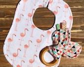 Organic Flamingo Baby Girl Teething Ring and Bib Set Baby Shower or Birthday Gift