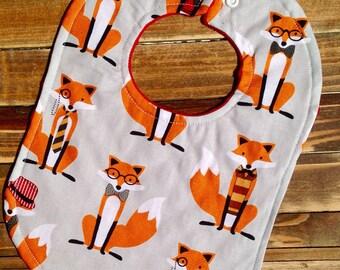Fox Party, Fox Bib For Baby Boy, Baby Boy Bib For First Birthday Party Gift, Woodland Creatures