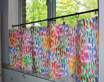 Cafe Curtains . Make it Rain - Fiesta . Curtains . Tiers .  Lined or Unlined . So Colorful . Handmade by Seams Original