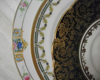 Mismatched China Dessert Plates, China Transferware Plates and Saucers Instant Collection, Gold Floral Wedding Shower China 3 piece set, #04