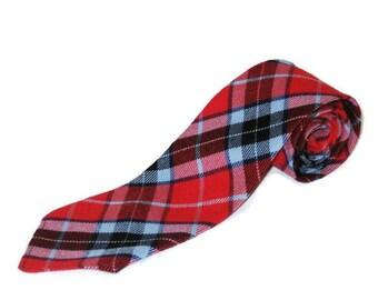 60s Red Tartan Tie Vintage Neckwear Thomson Red Tartan Tie Tartan Wool Tie Made in Scotland 1960s Plaid Tie Red Plaid Tie Red Tartan Necktie