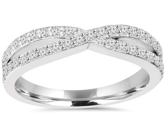 Diamond Crossover Infinity Ring .60CT 10K White Gold
