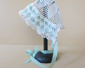 Antique Baby/ Doll Bonnet Ecru Crochet Lace Green Silky Ribbons 277b